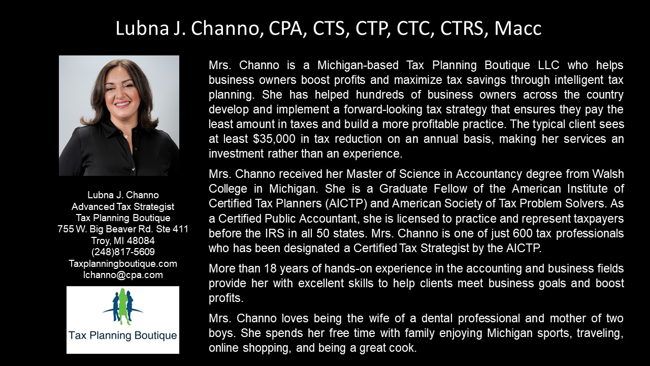 APEG Lubna J. Channo, CPA, CTS, CTP, CTC, CTRS, Macc