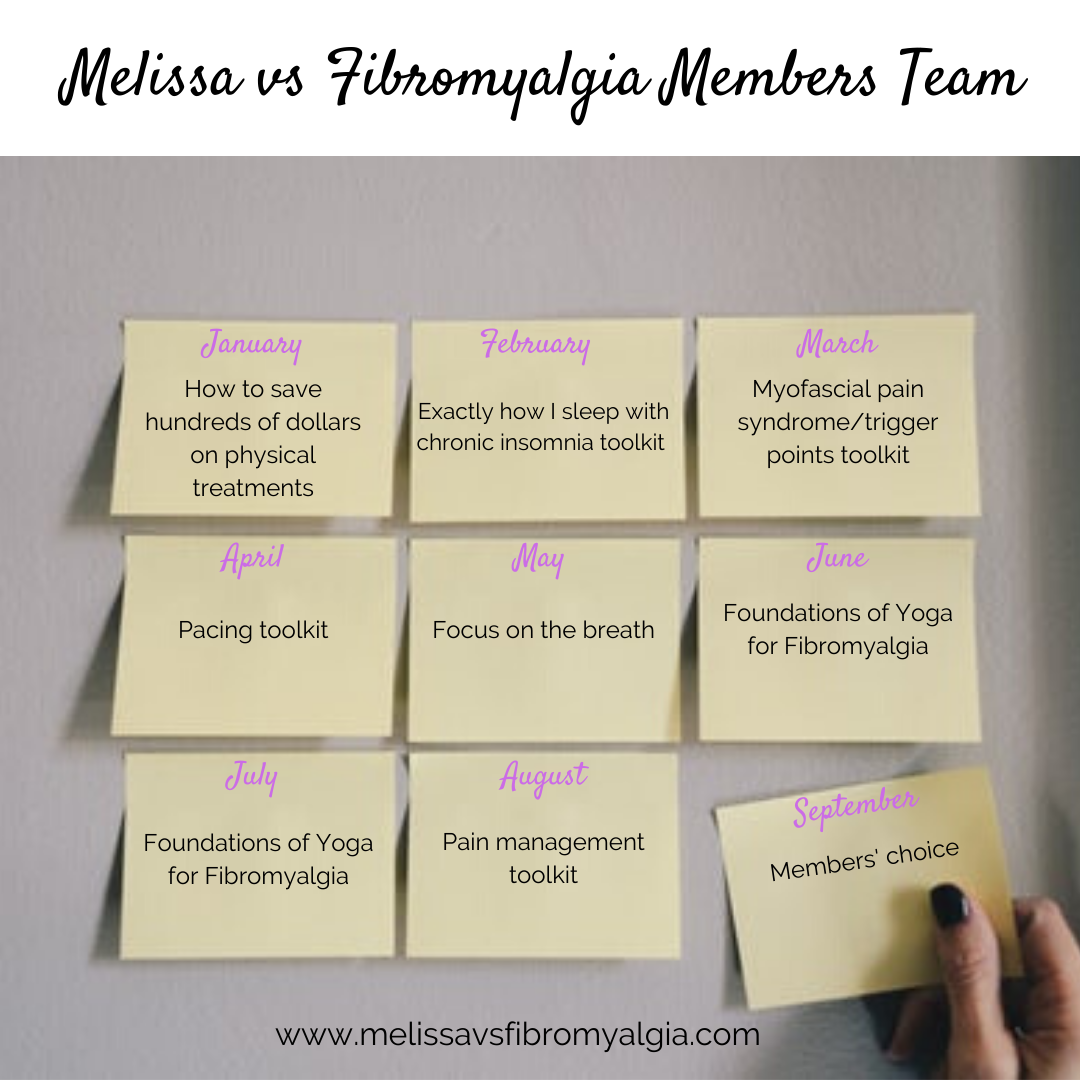 Melissa vs Fibromyalgia Members' Team 2020 Plan