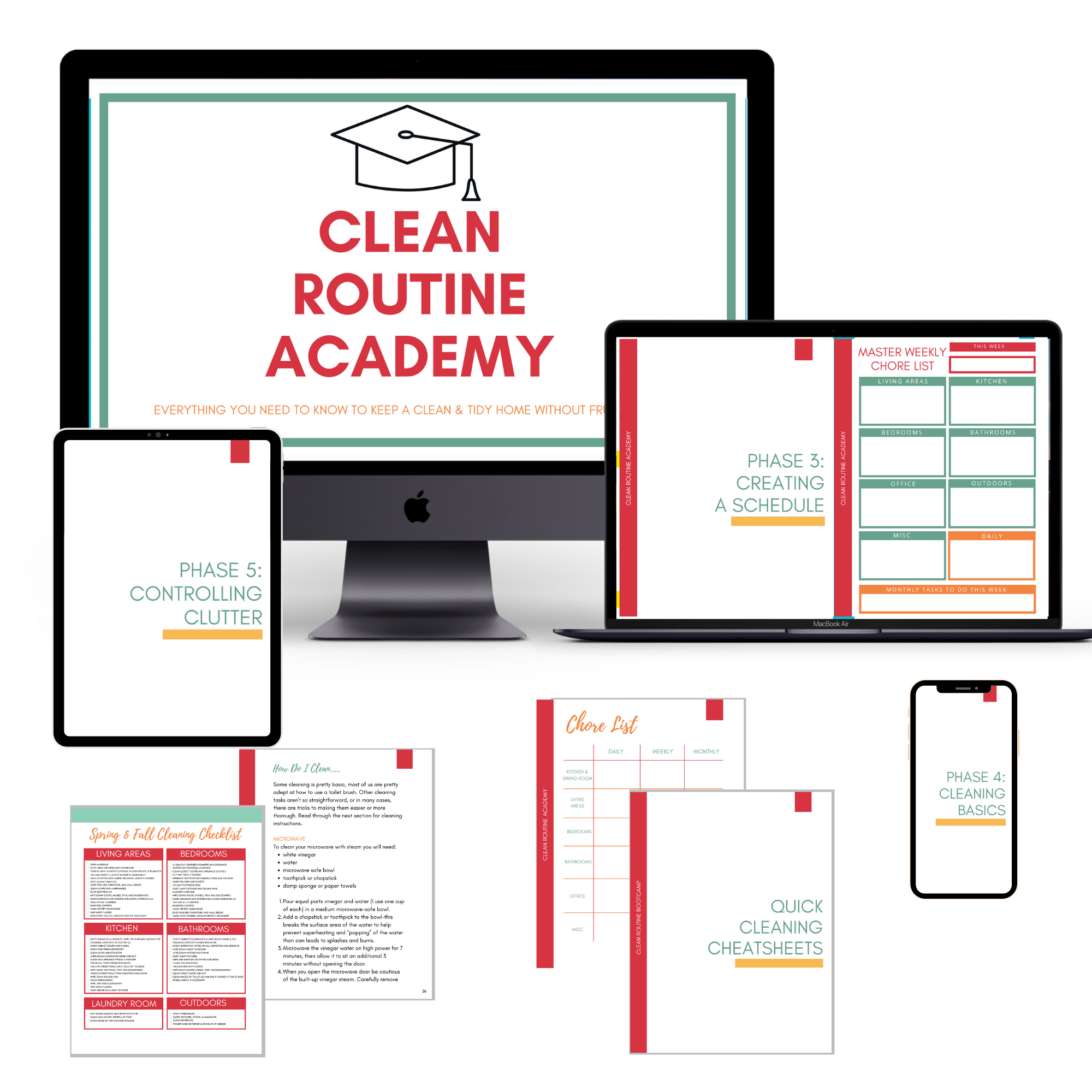 mock up of online clean routine academy course