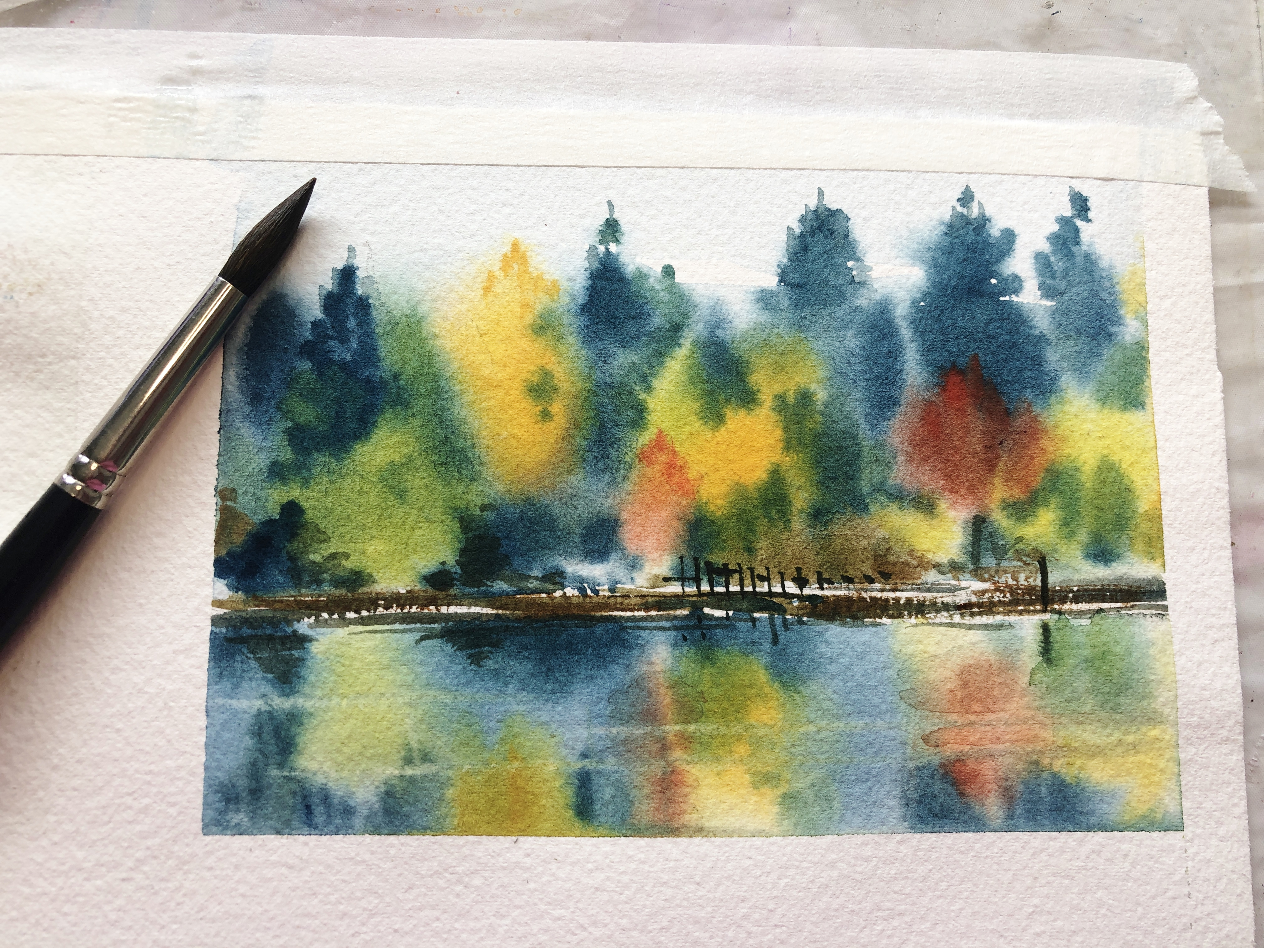 Watercolour Painting of Reflective Water by Jenny Gilchrist and Northern Beaches Watercolour Online Courses