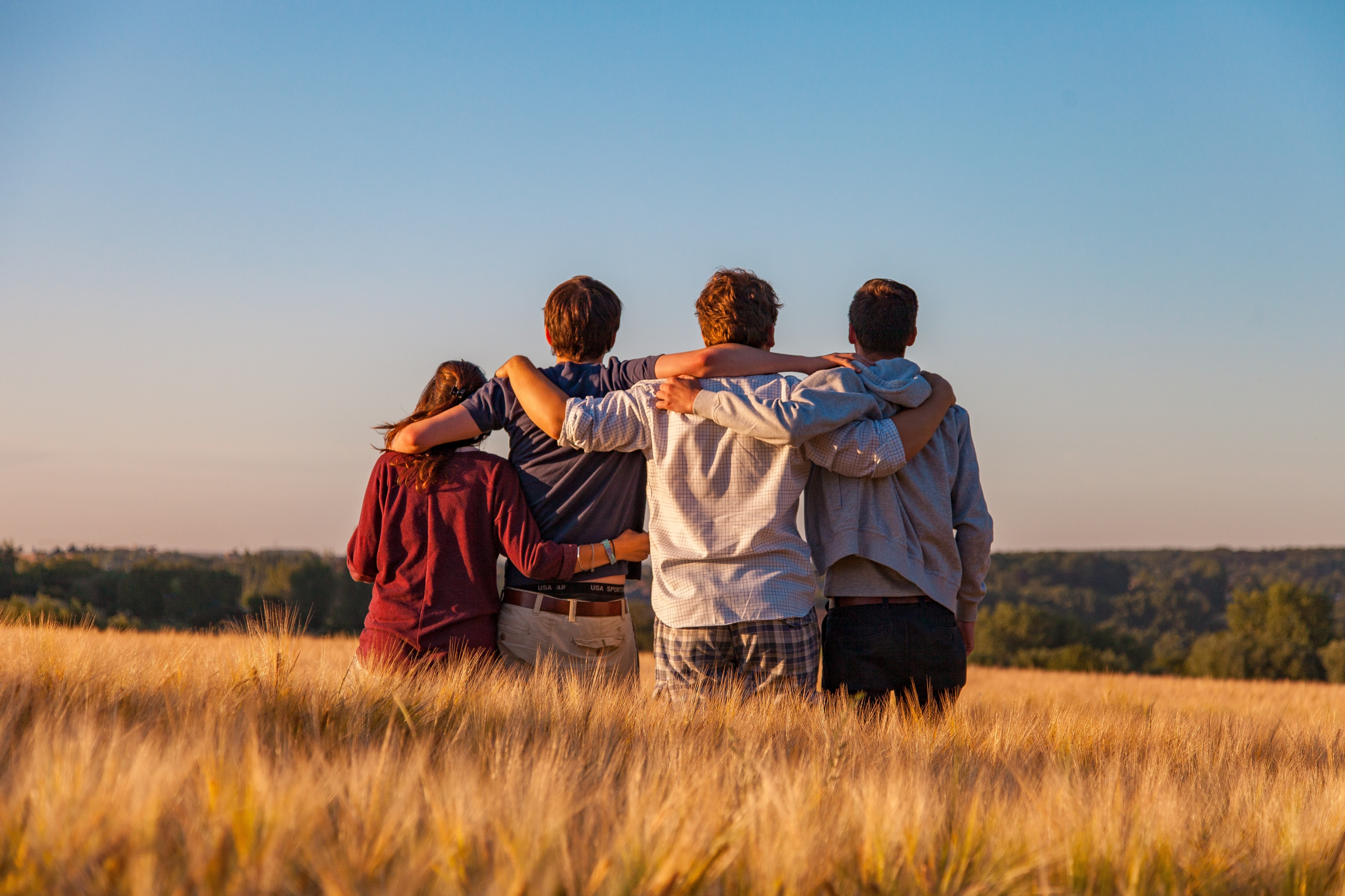 four people in a sunlit field with their arms around each others shoulders