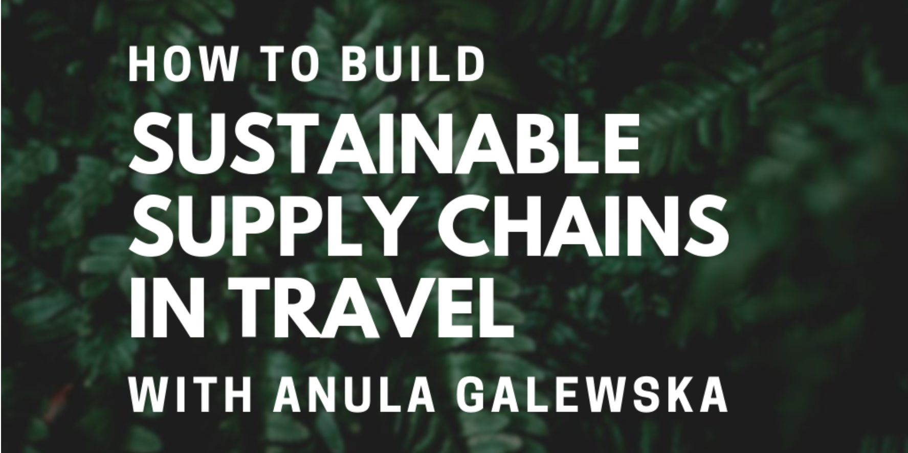 How to build sustainable supply chains in travel