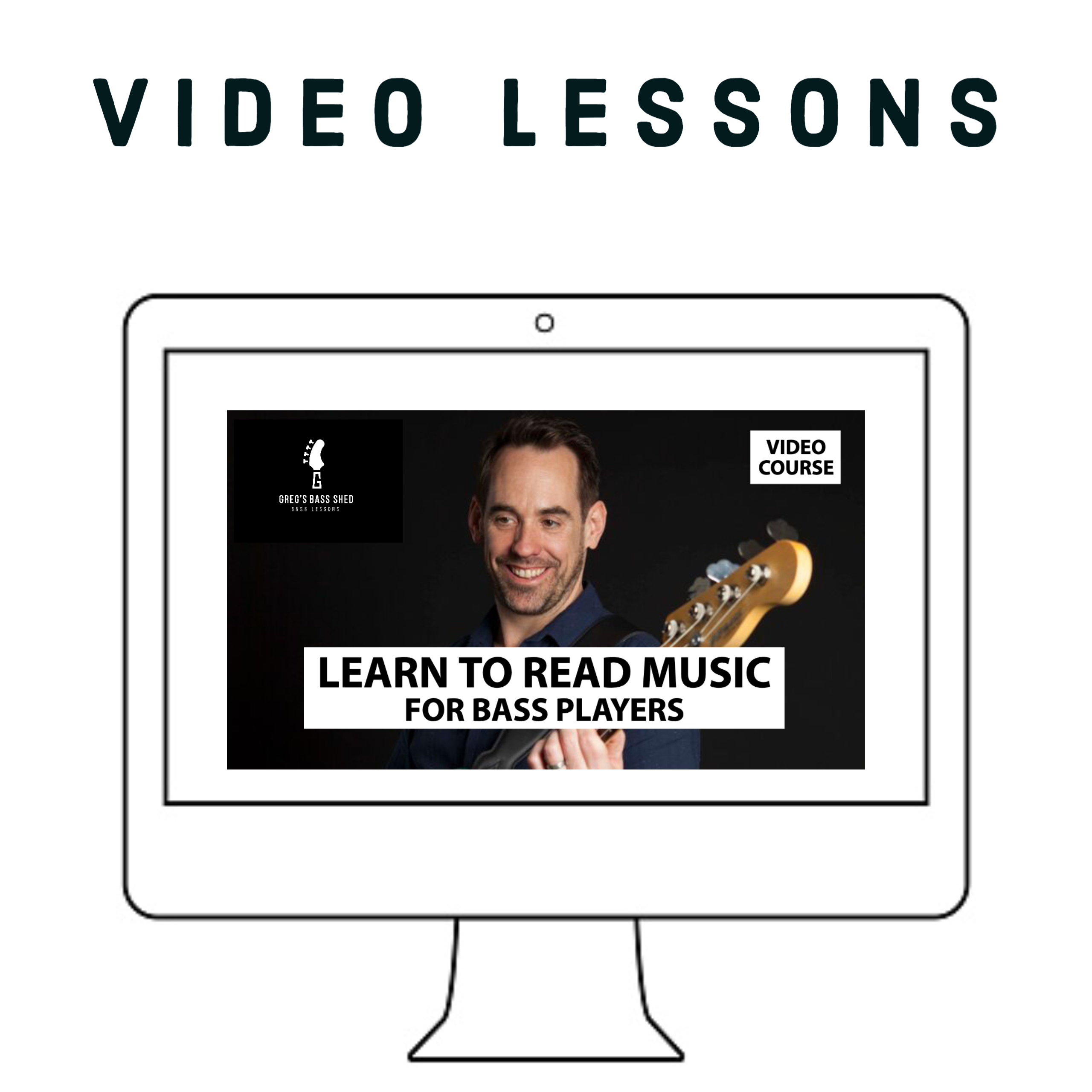 computer screen showing Reading Music Course for bass players