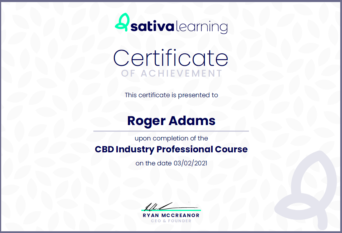 CBD Industry Professional Course Certificate