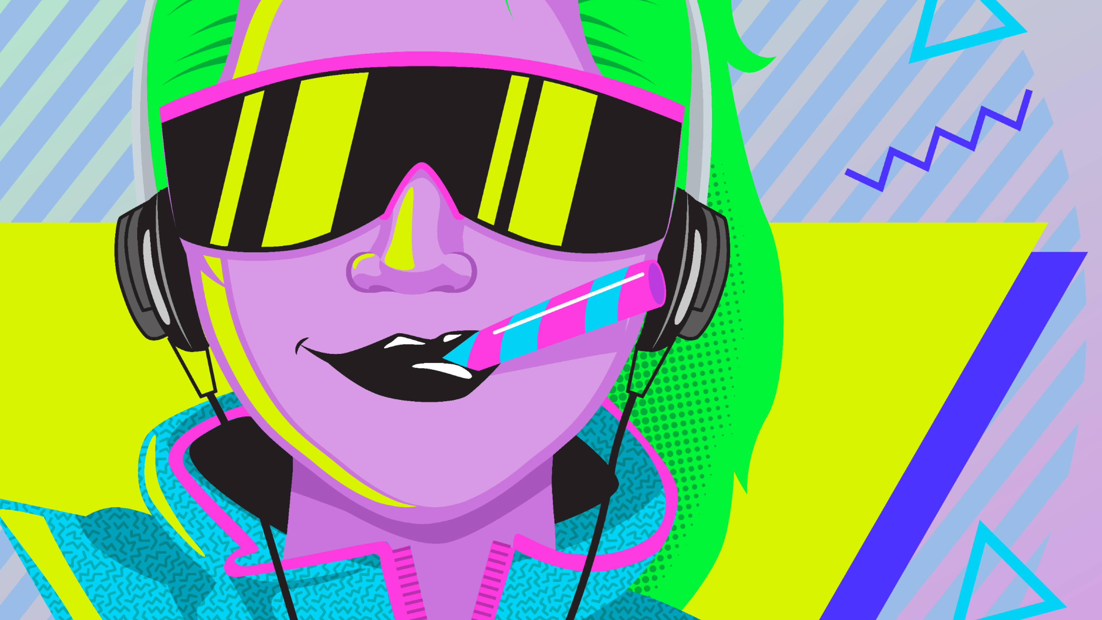 80s girl with green hair wearing sunglasses and smiling about RealToughCandy.io affiliate program
