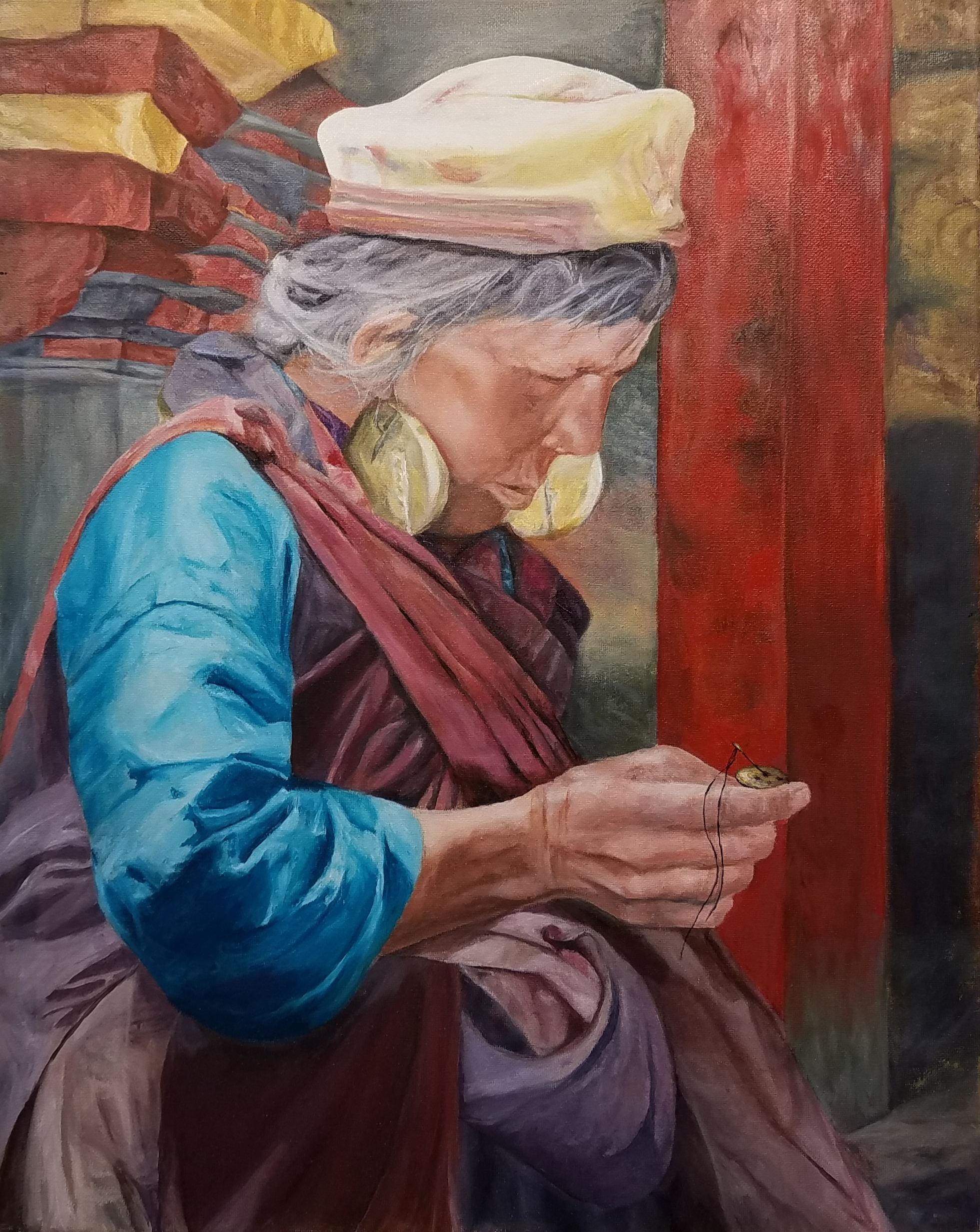 Oil painting of a old woman sewing, testimonial from student, Iris Toombs of RL Caldwell Studio