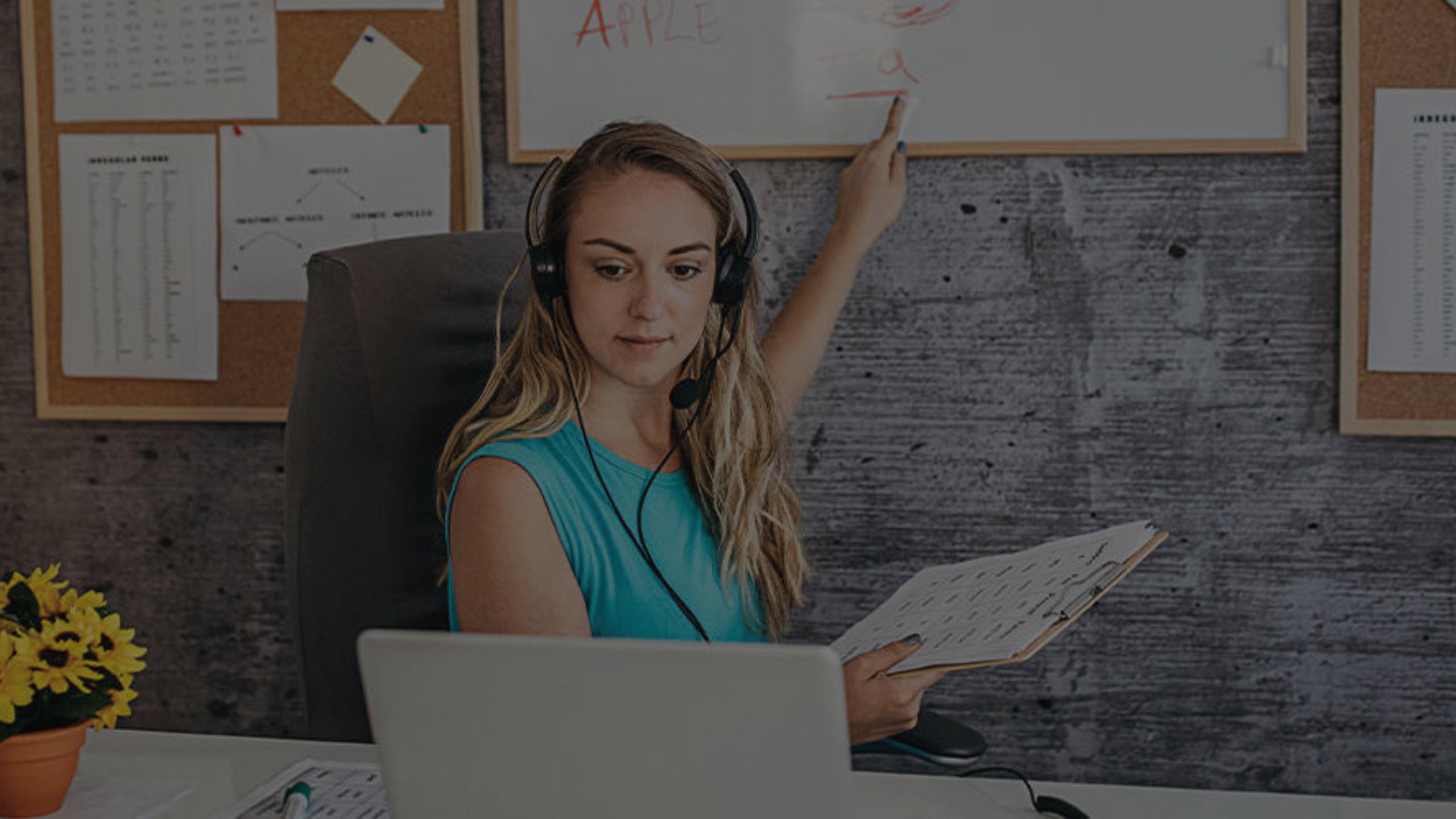 Virtual teacher laptop