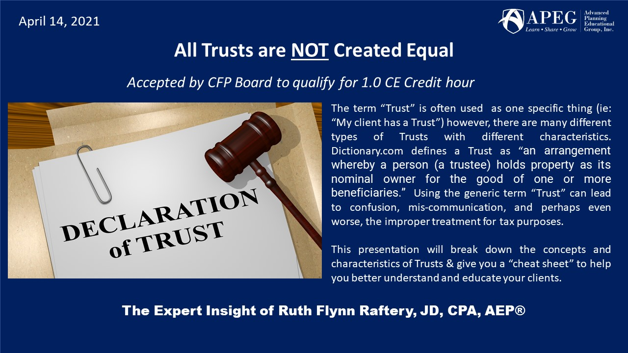 APEG All Trusts are NOT Created Equal