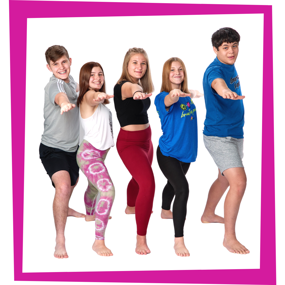 teens practicing warrior two pose