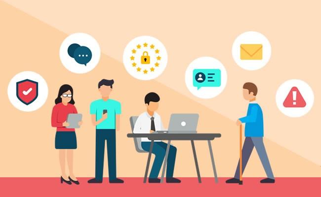 Varias personas utilizando dispositivos y navegando en Internet