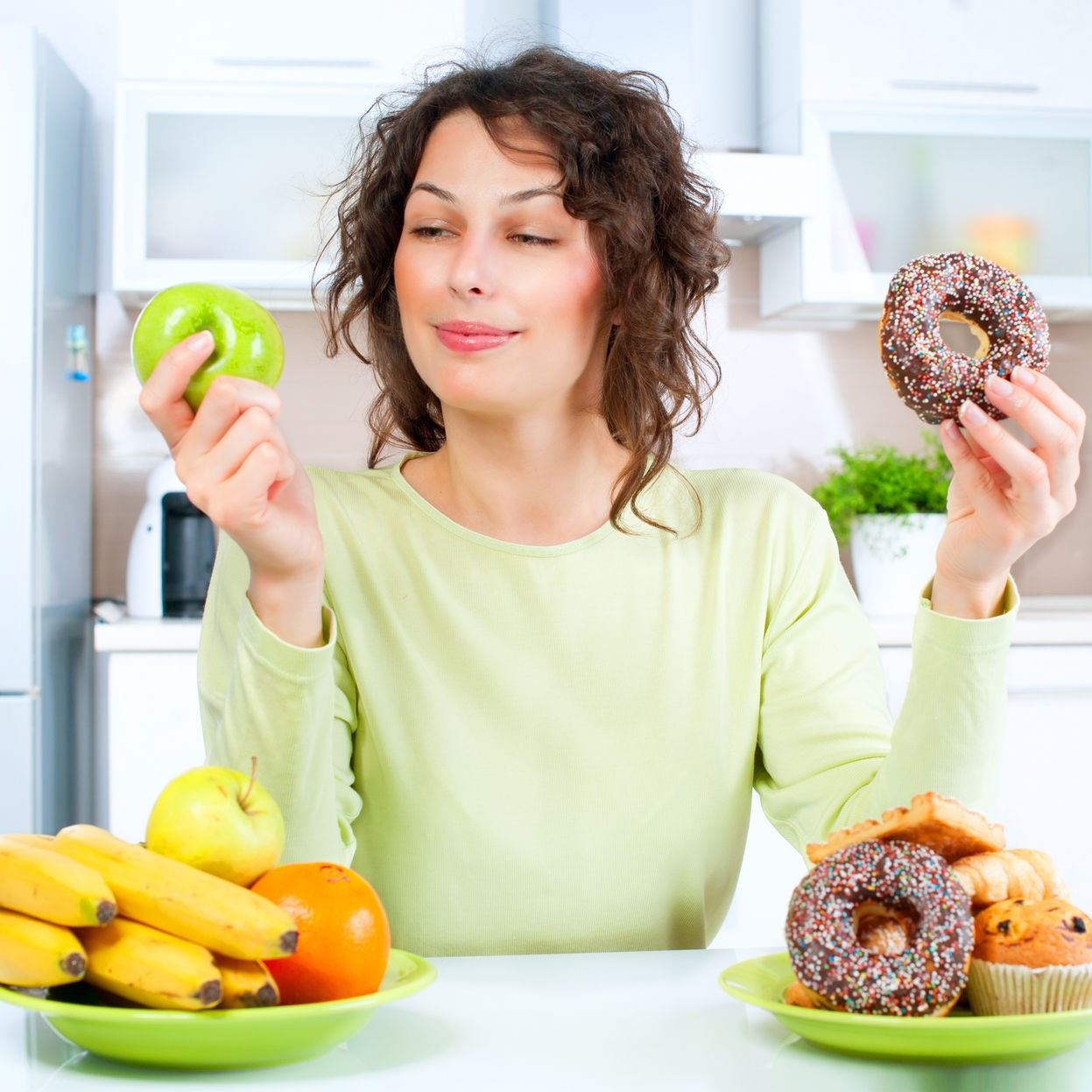 Mom making food choice for good energy