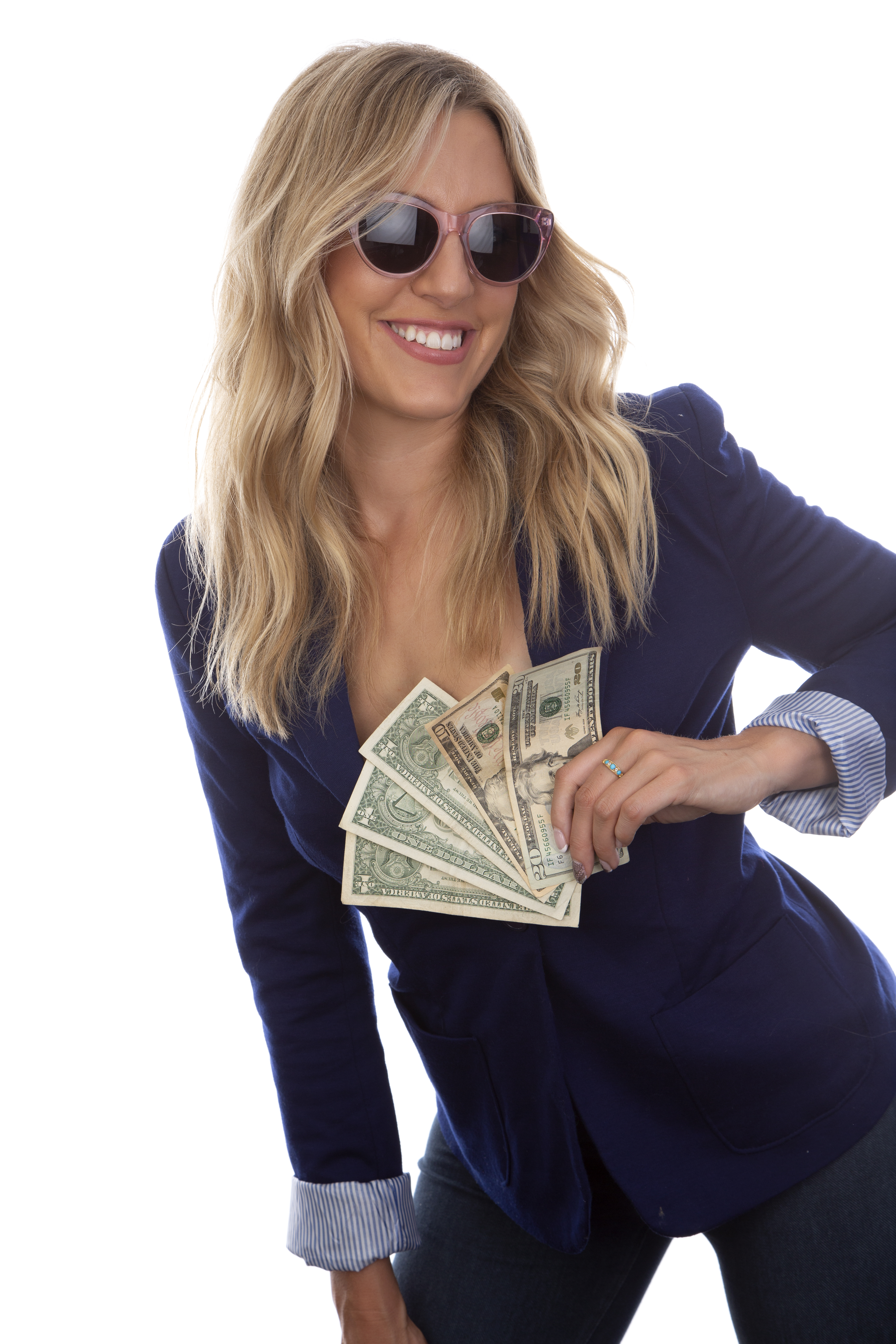 blonde girl wearing sunglasses holding money