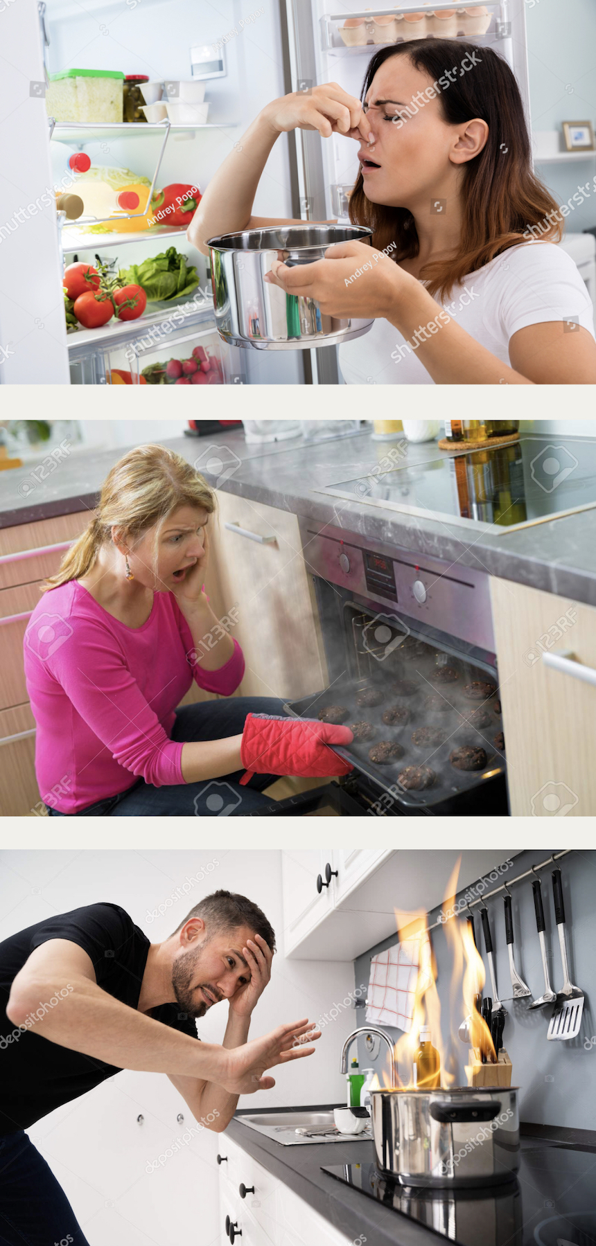 Stock photos of people failing in the kitchen