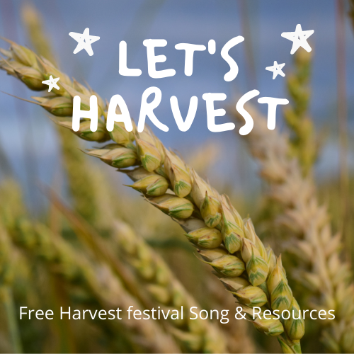 """image with """"Let's Harvest"""" Go Kid Music's amazing song for harvest festival with an ear of corn"""