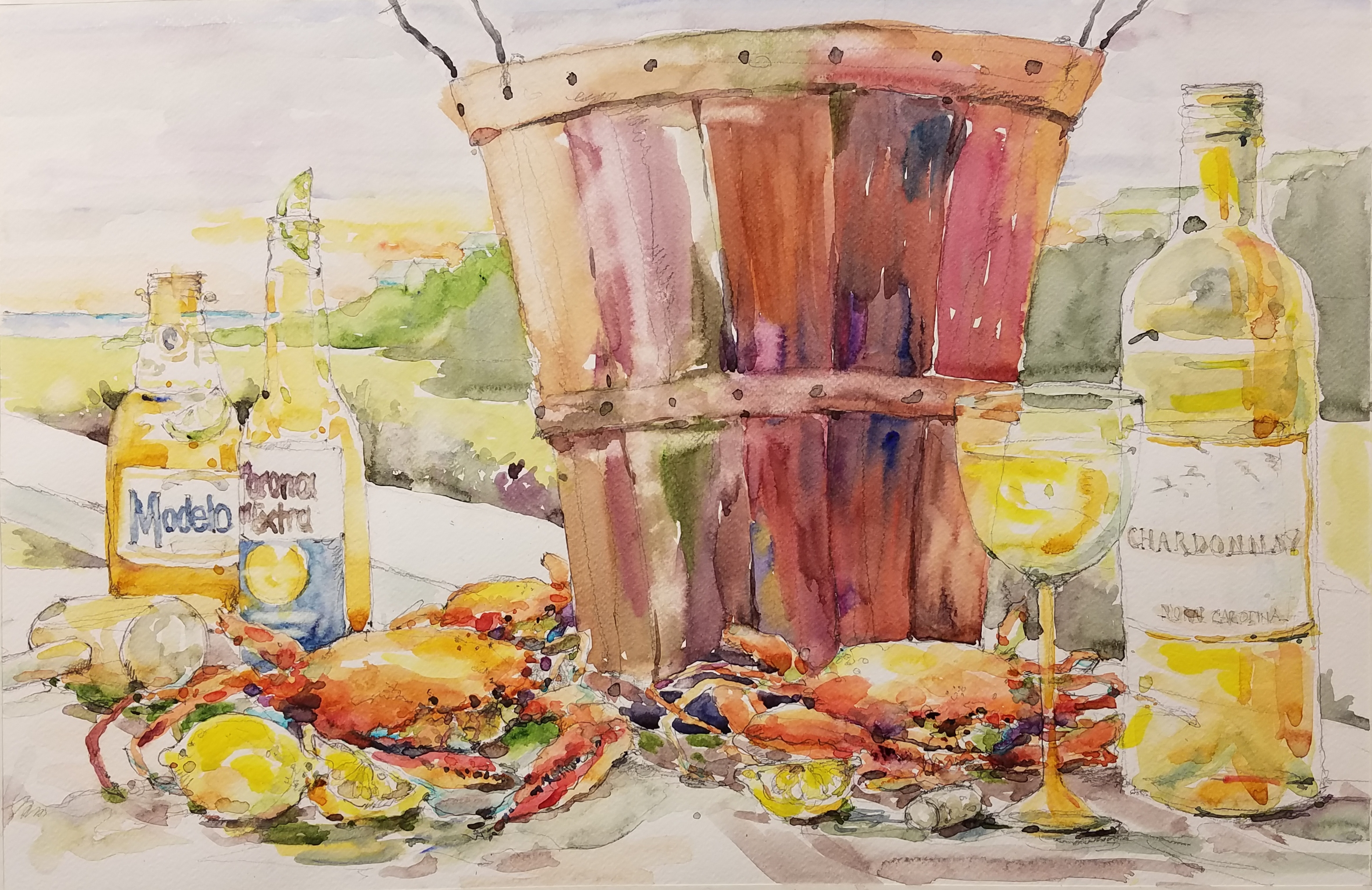 Oil painting of beer and crabs, testimonial from student, Christie Jones of RL Caldwell Studio