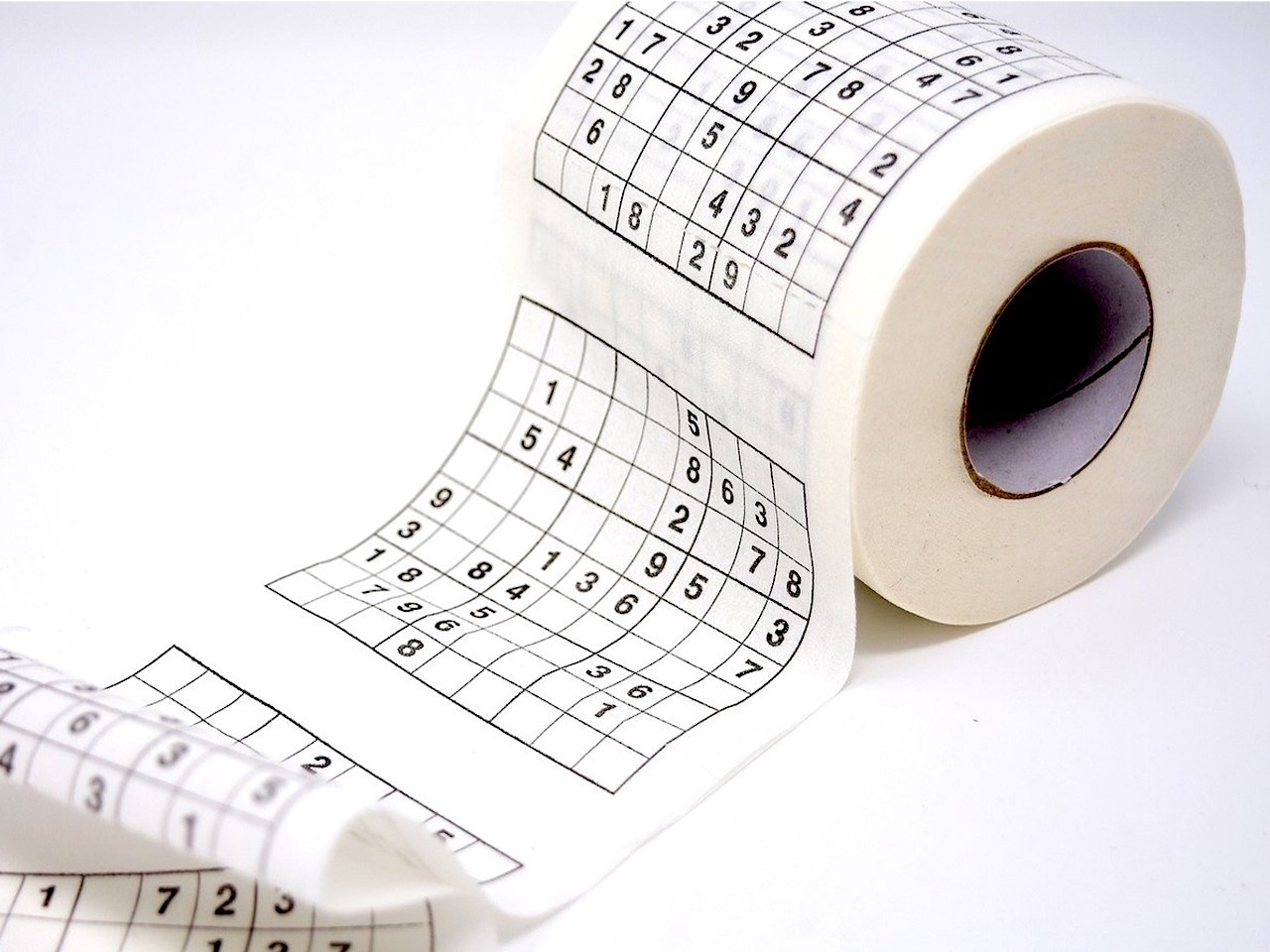 A toilet roll with Sudoku puzzles printed on each sheet