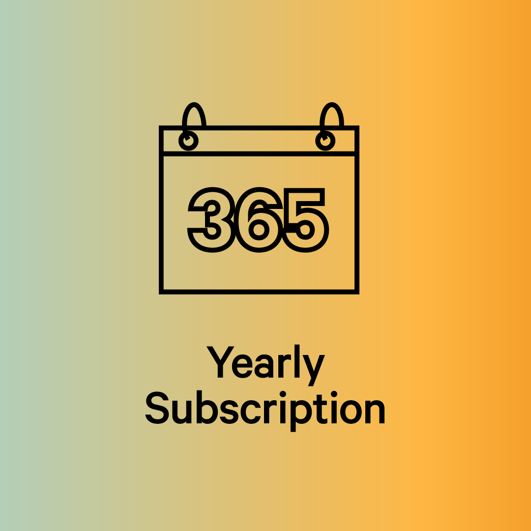 Green/yellow gradient with yearly subscription option. Line drawing of a calendar with 365 on it.