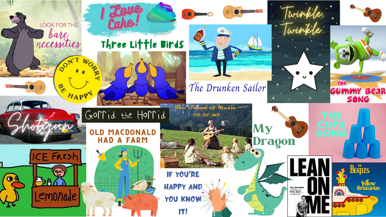 montage of song titles and illustrations of song content