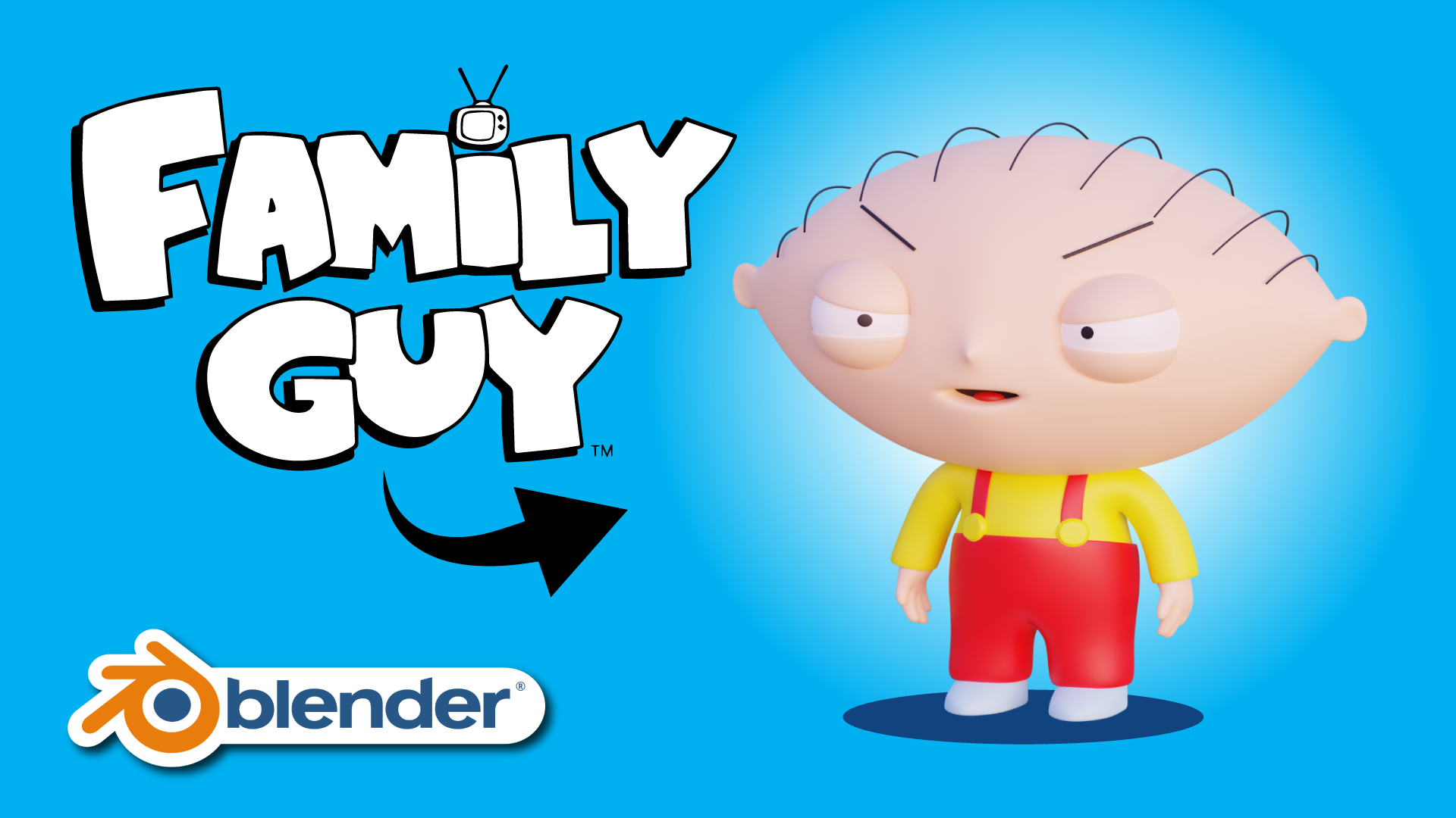 Stewie Griffin Family Guy 3D Modeling Blender Course Academy