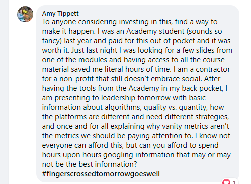 Testimonial from a happy student in Social Media for Social Good Academy