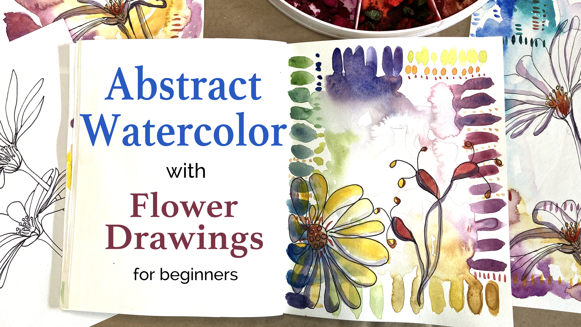 Abstract Watercolor with Flower Drawings