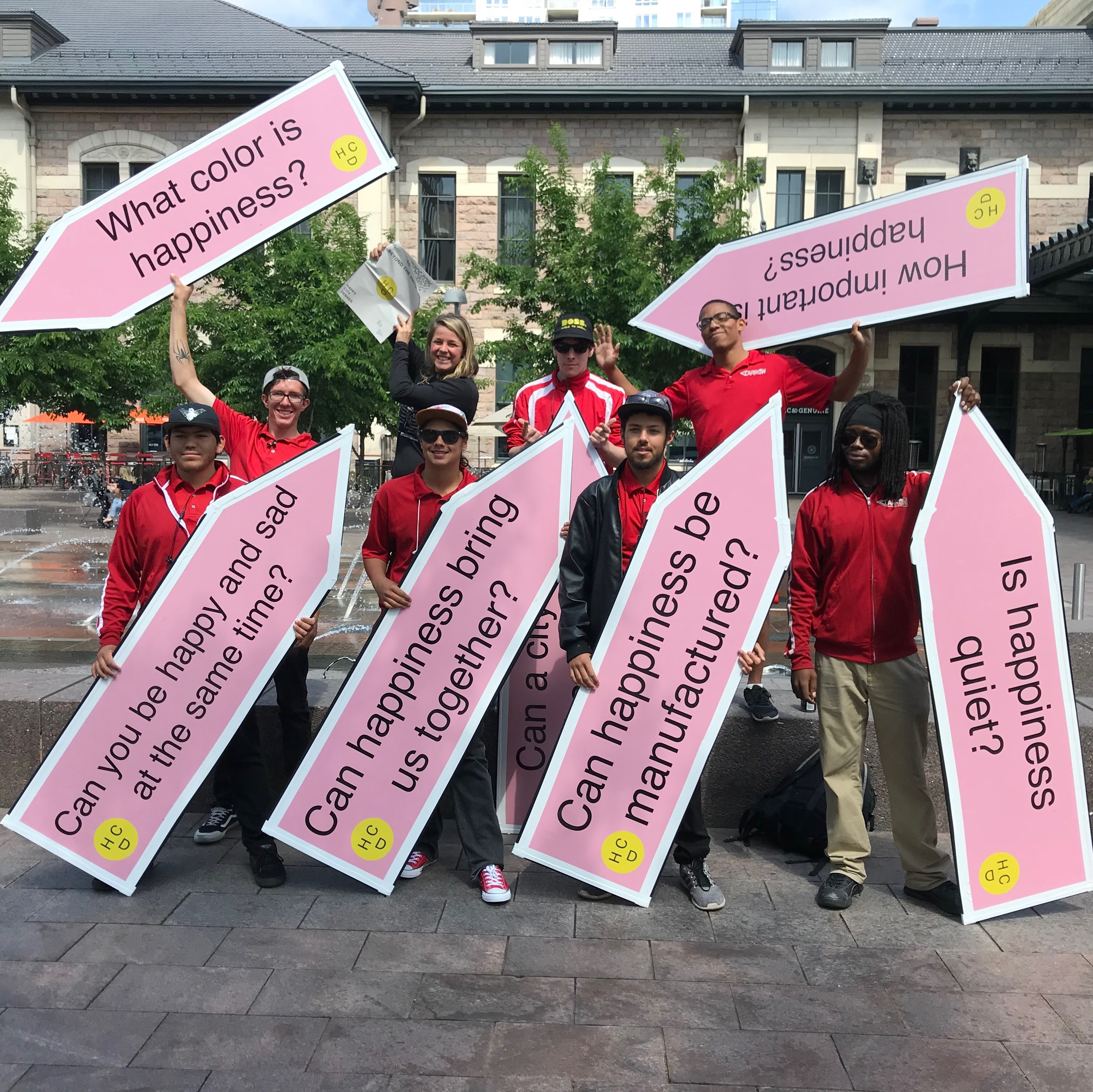happy city signs pink red shirts Nicole Garneau depression