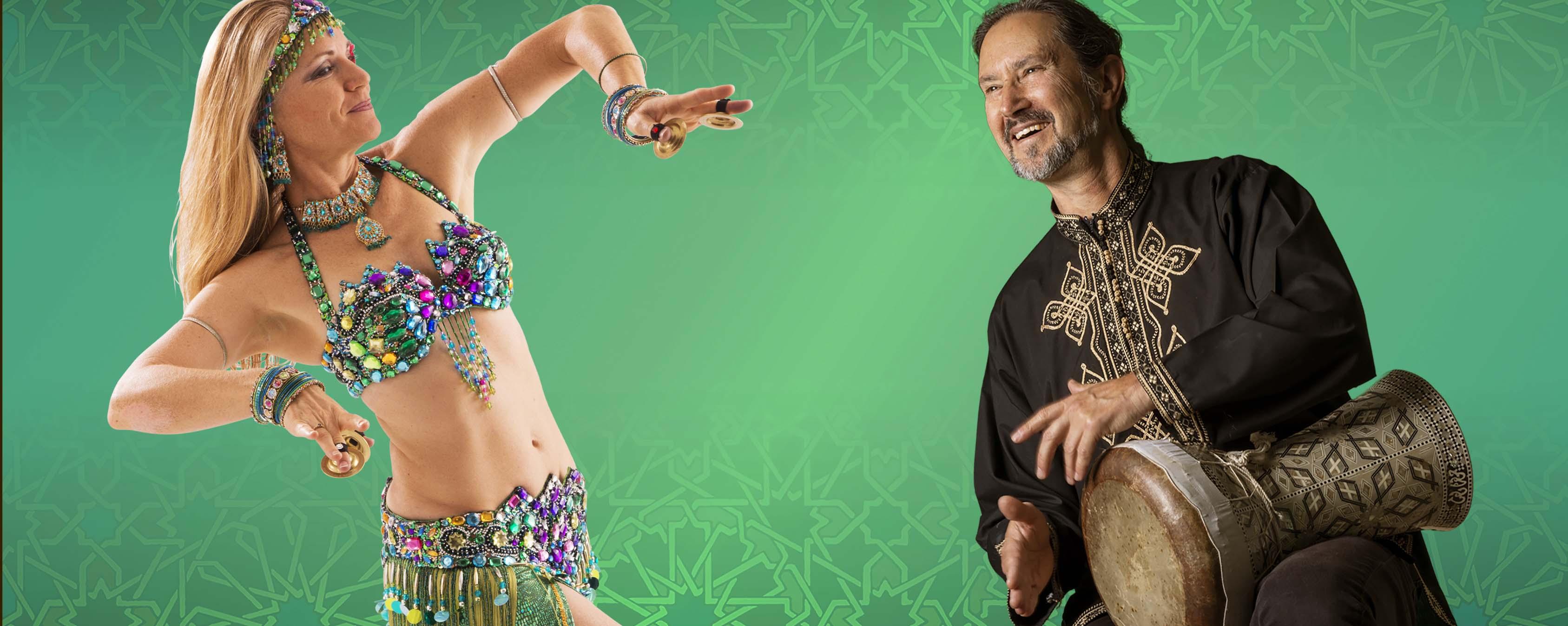 belly dancer Jensuya and drummer Robert Peak introducing beginner online belly dance course