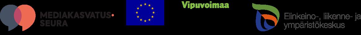 Neljä logoa: Mediakasvatusseura, Euroopan unionin sosiaalirahasto, Vipuvoimaa EU:lta sekä Elinkeino-, liikenne- ja ympäristökeskus