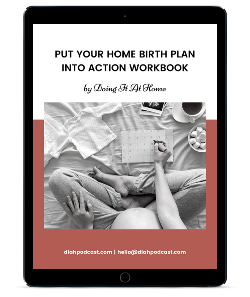 """Cover graphic for """"Put your home birth plan into action"""" workbook on a tablet"""
