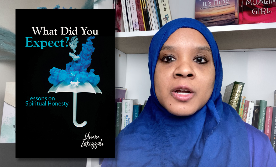 Photo of Umm Zakiyyah in blue hijab with Book Cover