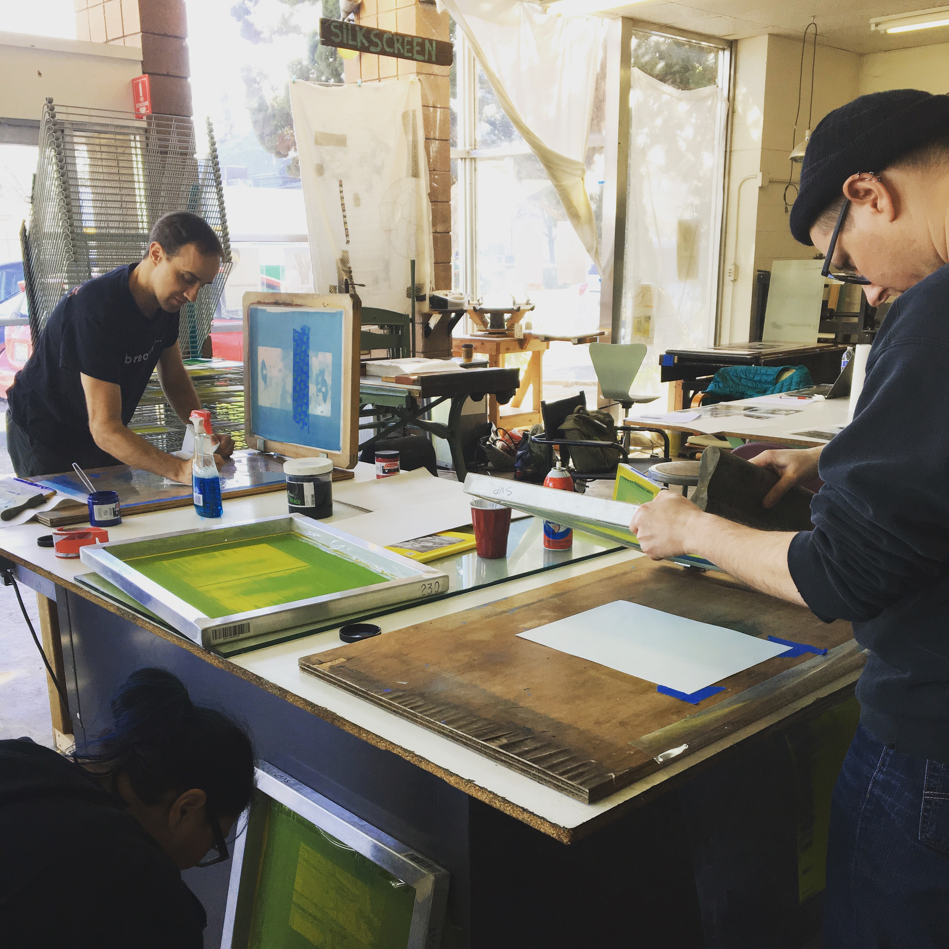 Screen printing printmaking class