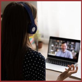 woman having an online meeting