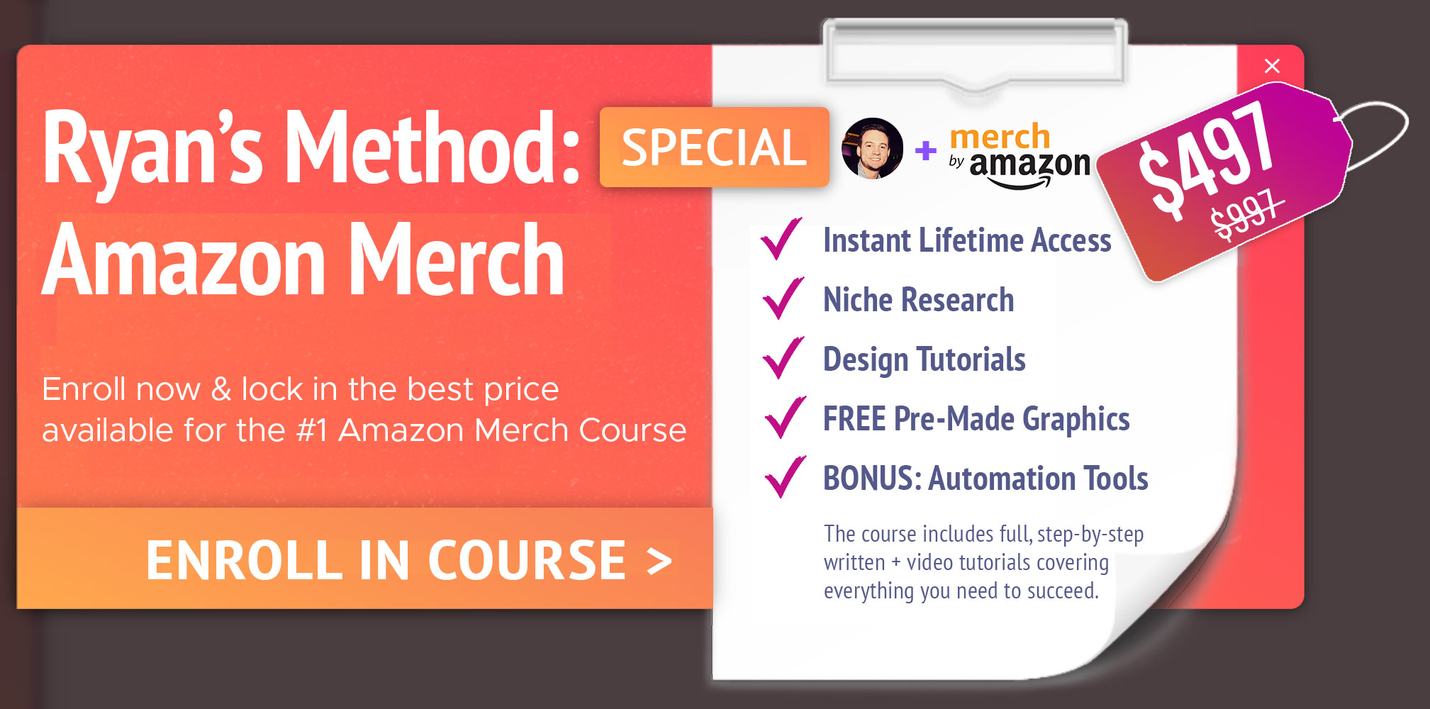 Enroll in Ryans Method: Amazon Merch