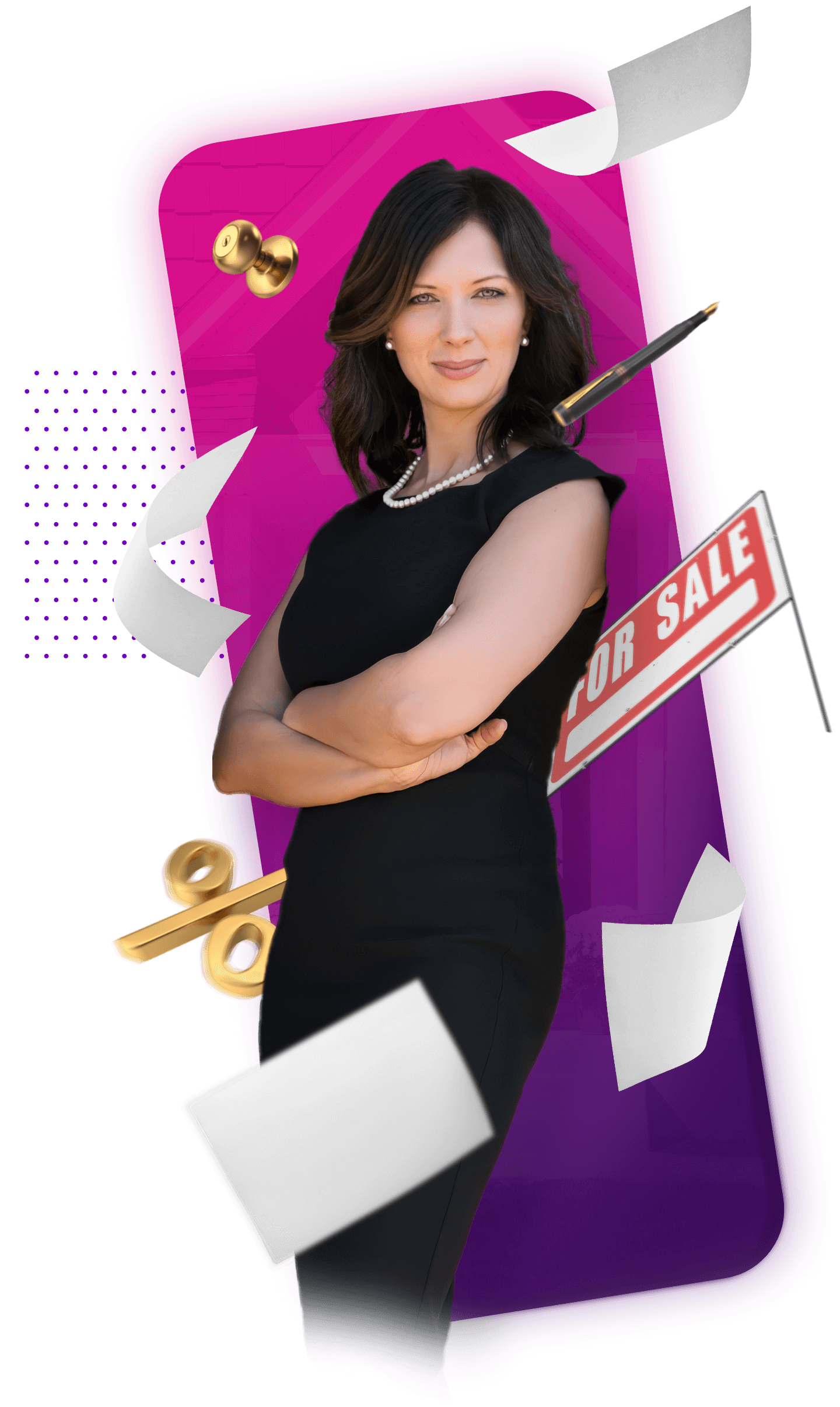 Stephanie with For Sale Sign