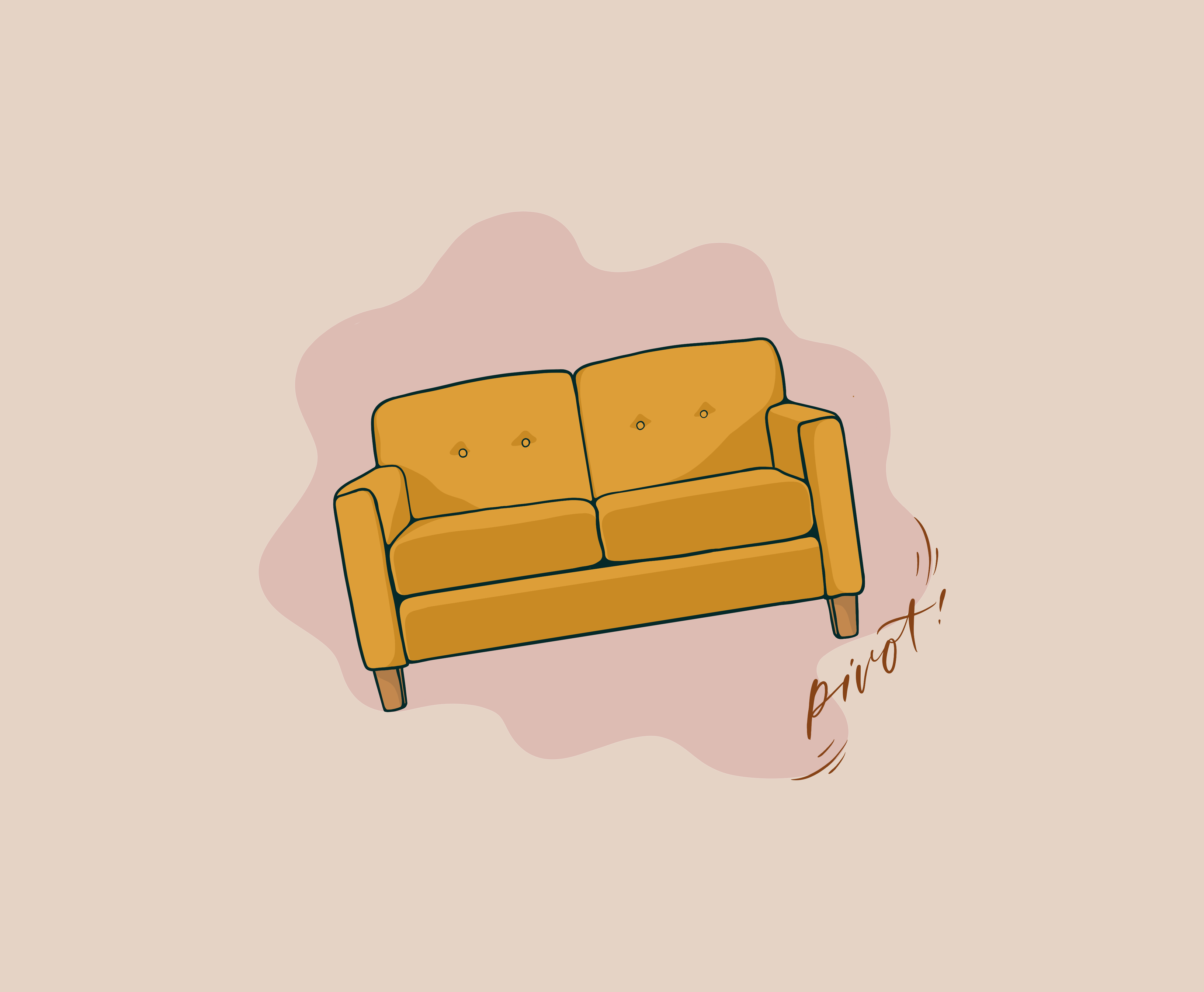 """An illustration of a yellow couch on an angle, with the word """"Pivot"""" written under the right couch leg"""