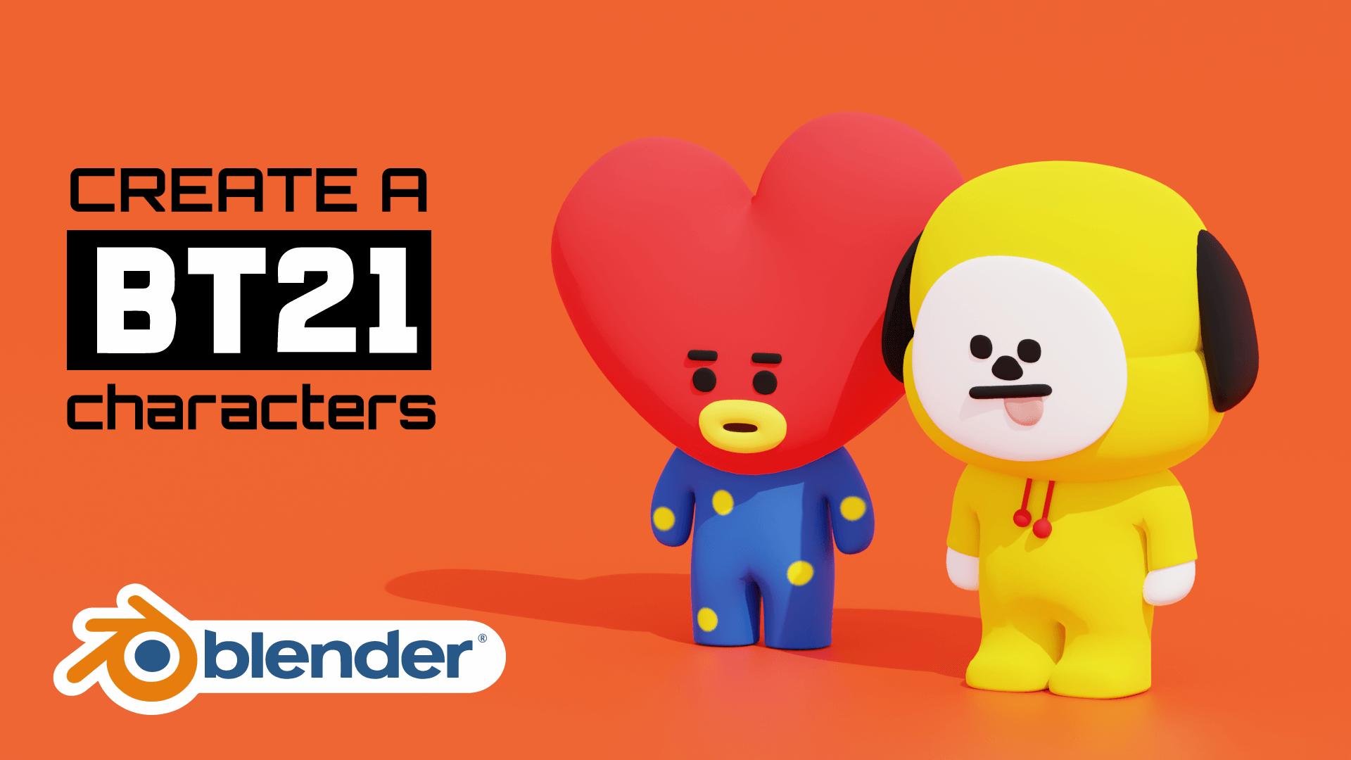 BT21 K POP BTS Character 3D Model Blender Course Academy