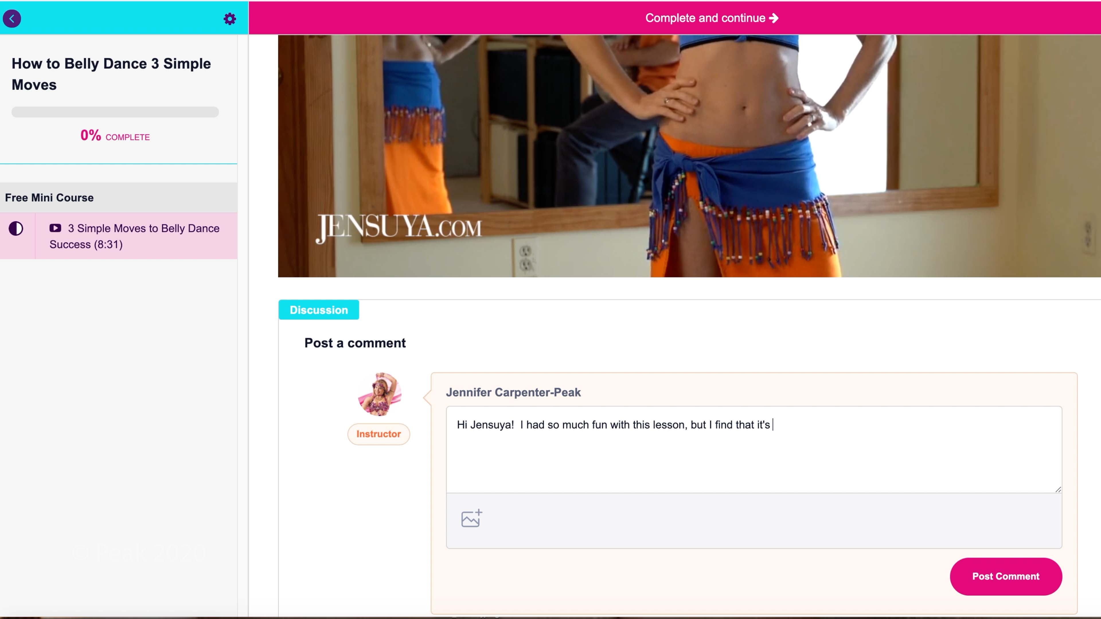video lesson comment section of online belly dance course with question being written