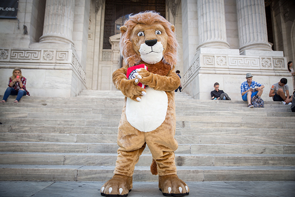 Library Lion Mascot on Steps