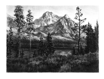 charcoal landscape of High Mountain Lake by artist Kevin McCain