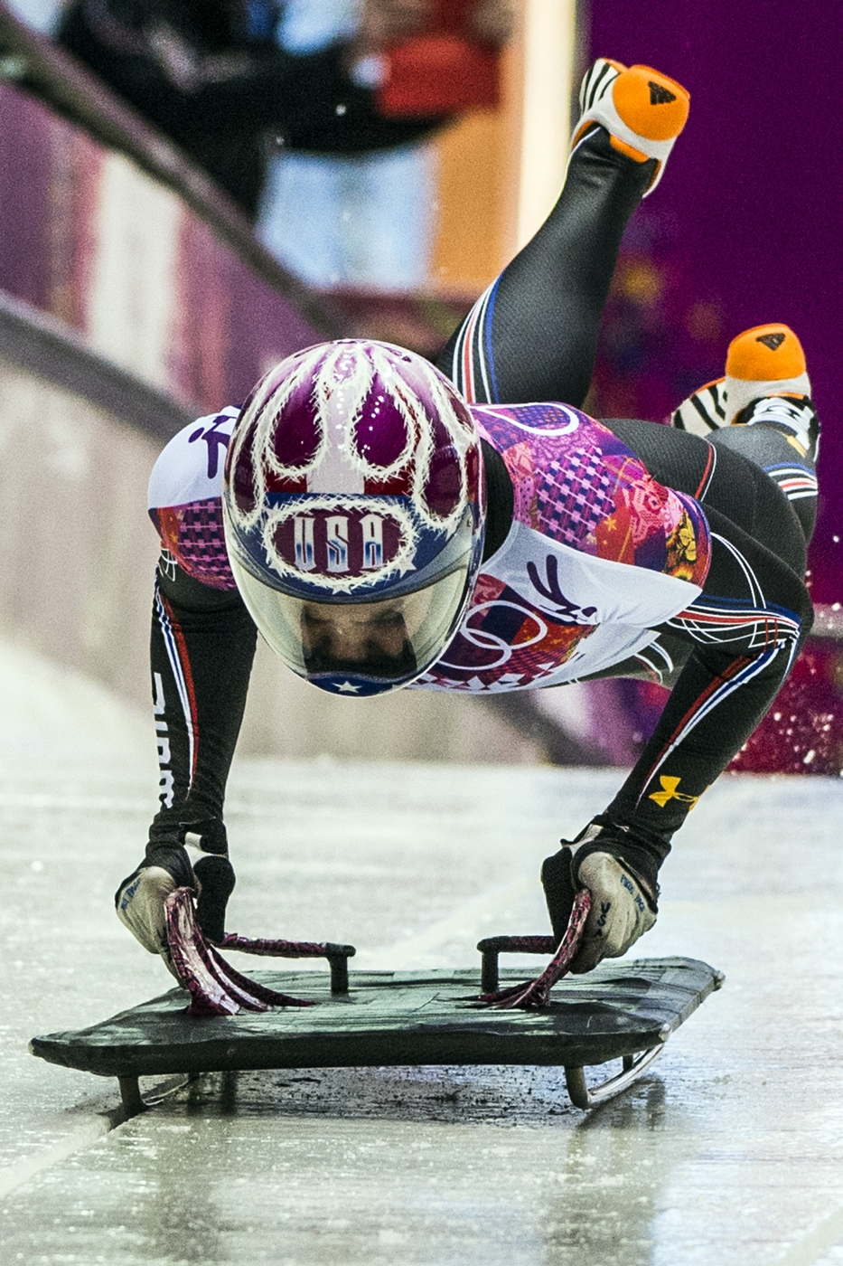 Noelle Pikus Pace loading on her skeleton sled at the Olympics in Sochi.