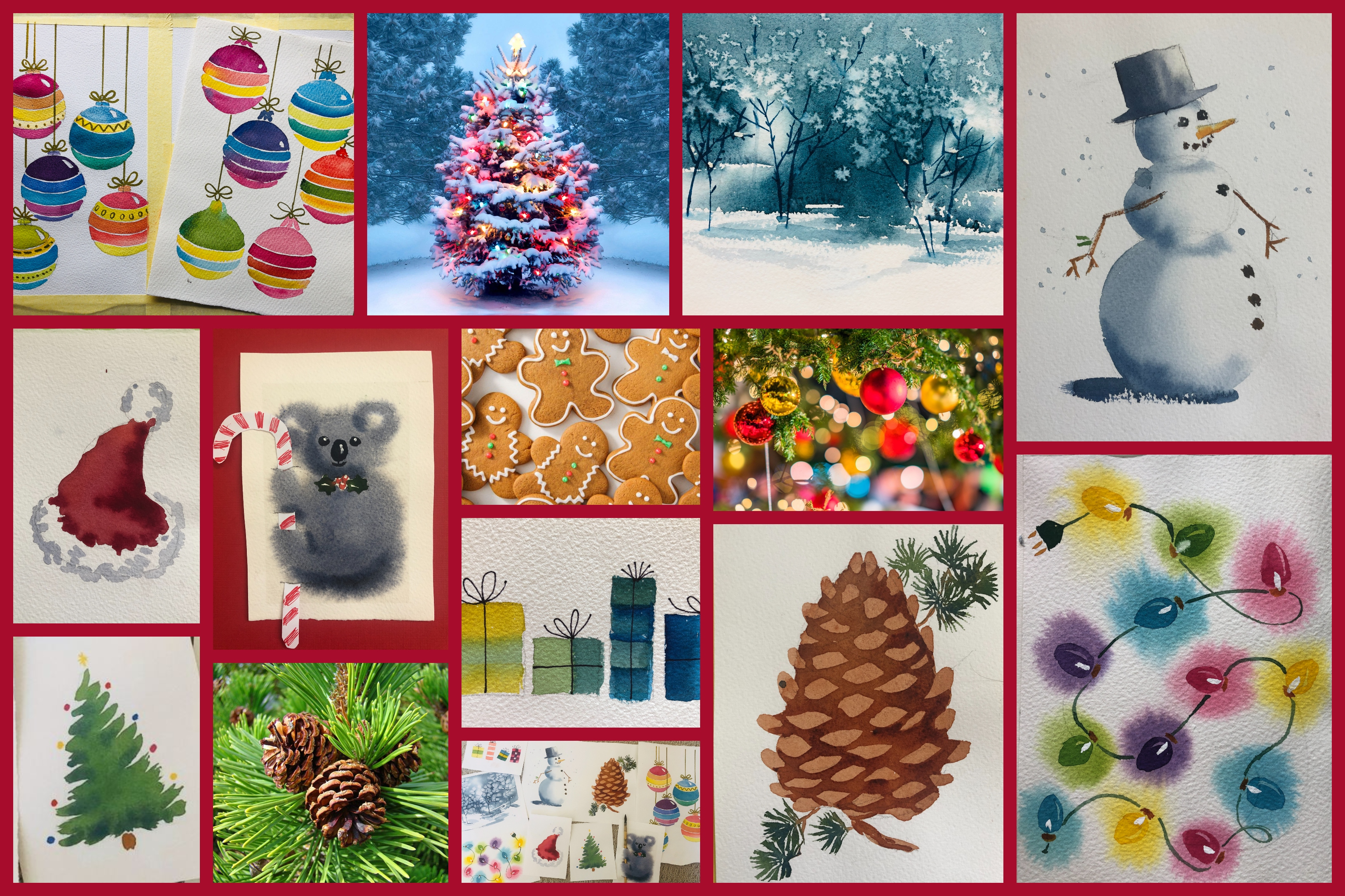 Online Christmas Easy Watercolour Workshop