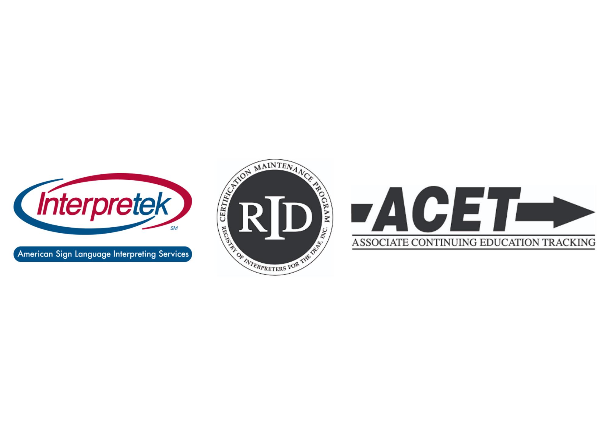 Logos for Interpretek, ACET, and RID CMP