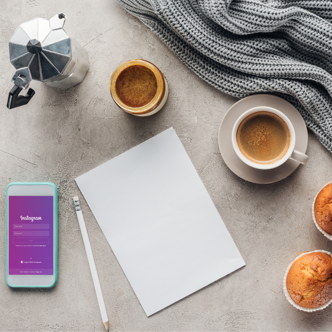 Instagram and coffee with notebok
