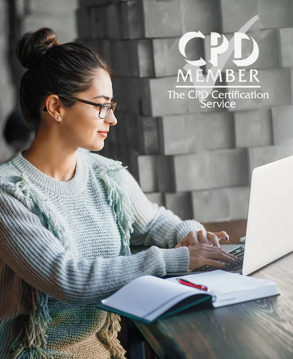 Student on a laptop with the CPD Certification Service logo