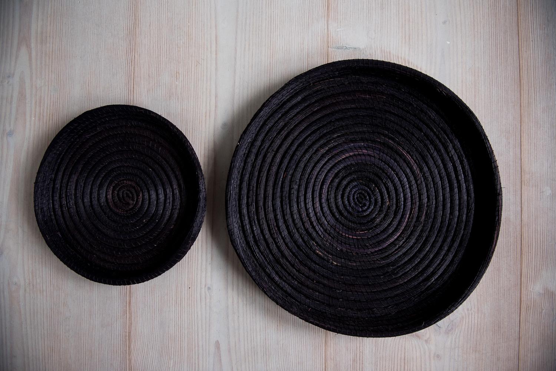 Handwoven artisan black basket