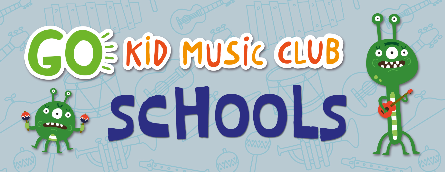 go kid music logo with schools text and green aliens