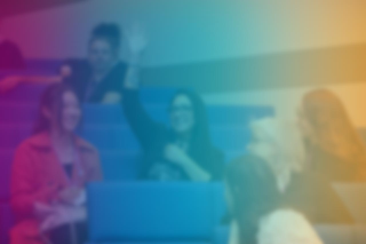 Blurry image of people in an auditorium. Overlay of color rainbow from purple to yellow. Text reads: Welcome to Art World Learning. Business and Financial Health for Artists, Designers, and Freelancers.