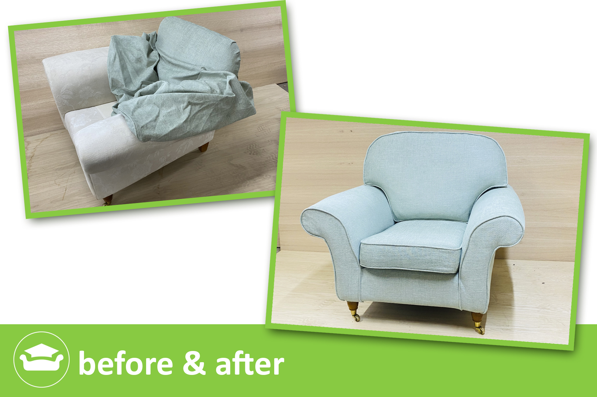 learn to make loose covers for a club sofa and chair