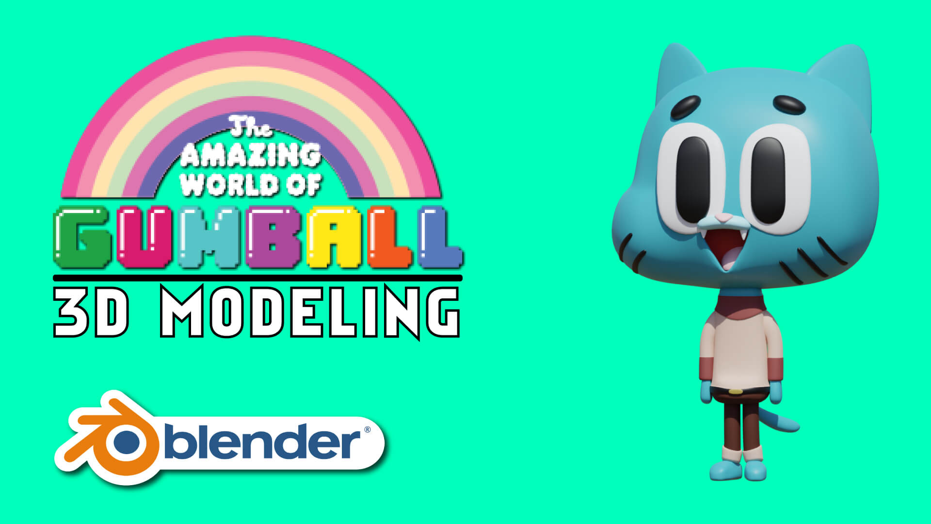 3D Gumball The Amazing World Of Gumball Model Blender Course Academy