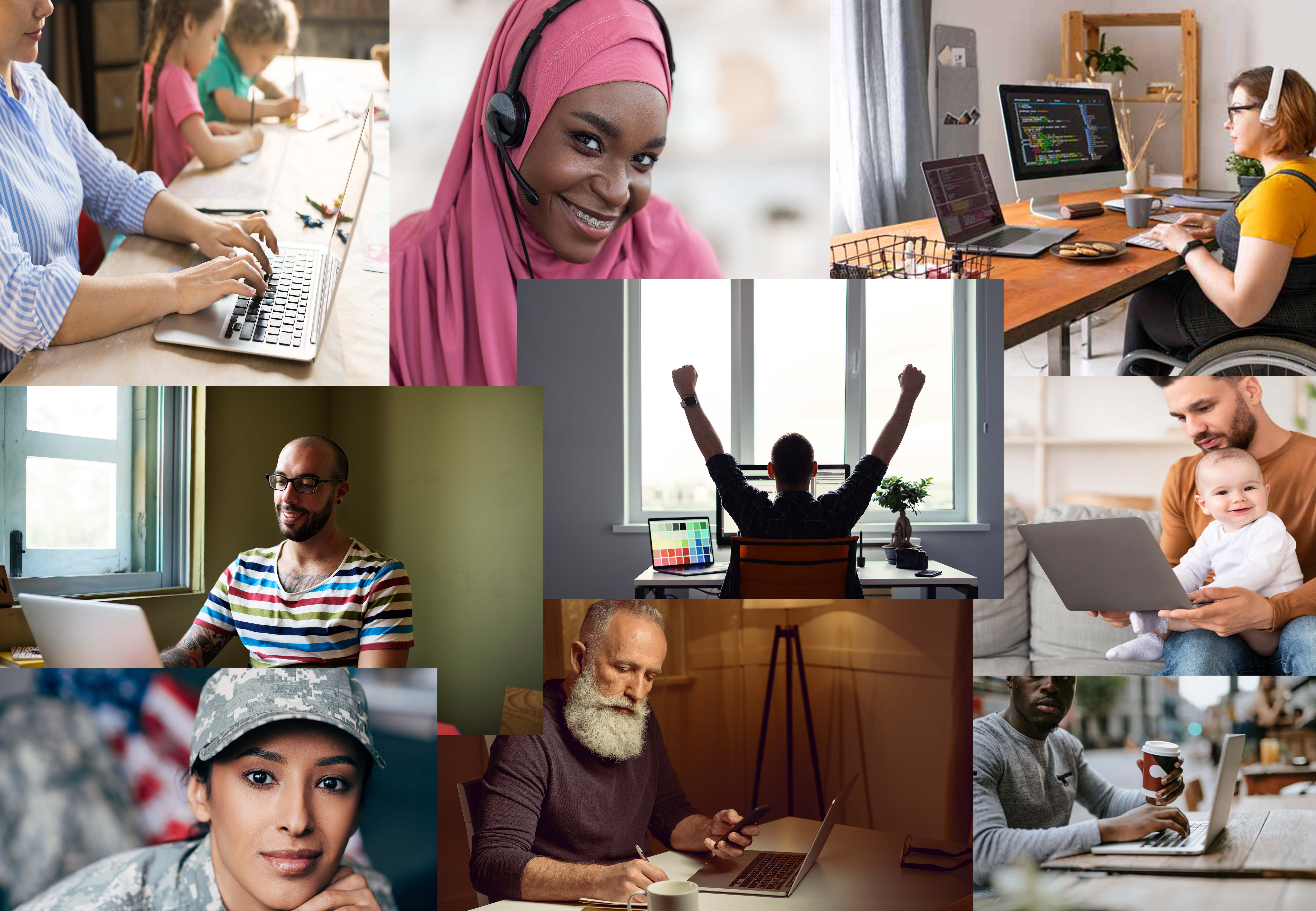 collage of remote workers